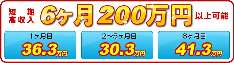 短期高収入 6ヶ月200万円以上可能